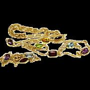SALE Beautiful 14K Gold Multi Gemstone Bezel Necklace Bracelet Stations Set Fine
