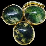 SALE Victorian Shamrock Moss Agate Cabochon 15K Gold Pin Brooch Fine