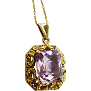 SALE Stunning Amethyst Gold Ornate Pendant Chain Necklace Fine
