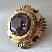 SALE Exquisite Victorian Memorial Amethyst 10K Gold Brooch Locket FINE