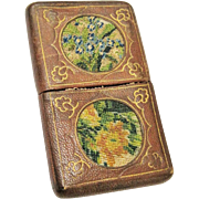 SALE Embroidered Leather Card Case Antique Rare