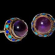 SALE Chinese Amethyst Enamel Silver Gilt Stud Earrings Fine Vintage