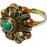SALE Chinese Turquoise Coral Filigree Silver Gilt Ring Fine Vintage