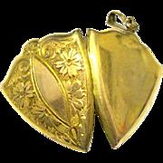 SALE 1920's Ornate Gold Filled Locket Shield Chased