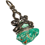 Native American Turquoise Sterling Silver Fob Pendant Old Pawn RARE