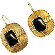 SALE Vintage Black Onyx Sterling Vermeil Drop Earrings