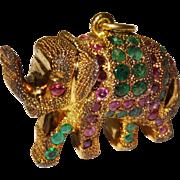 SALE Unique Gemstone Vermeil Elephant Charm Pendant Vintage