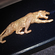 SALE Fine 14K Yellow Gold Jaguar Brooch Figural