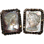 SALE Vintage Sterling Cameo Mother of Pearl Earrings Fine