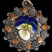SALE Vintage Pansy Enamel Silver Pendant Fob Rose Gold Fill Stars