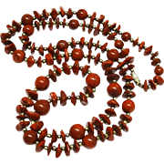 """SALE Awesome Red Jasper Bead Necklace 36"""" Chunky"""