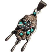 SALE Precious Vintage Bird Pendant Silver Turquoise Aesthetic