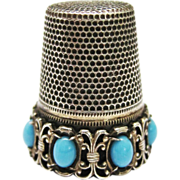 SOLD Vintage Silver Turquoise Thimble