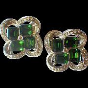 "Vintage Signed ""KRAMER"" Rhodium & Rhinestone Earrings"