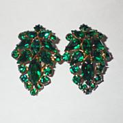 Vintage Emerald Green Rhinestone Earrings