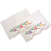 Vintage Pair White Pillowcases with Hand Embroidered Tulips