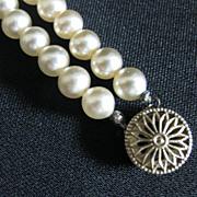 Vintage Signed Two Strand Glass Pearl Bracelet