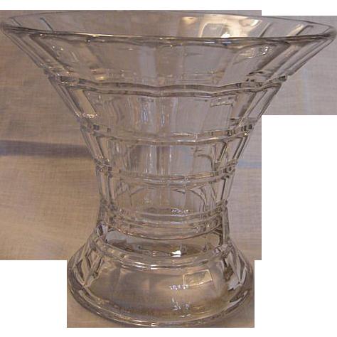 Vintage Signed Heisey Cross Lined Flute Glass Vase