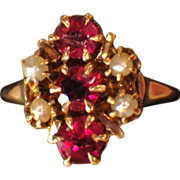 Antique Victorian 12K Gold, Spinel & Seed Pearl Ring