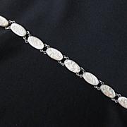 Vintage Signed Sterling Silver & Mother of Pearl Bracelet