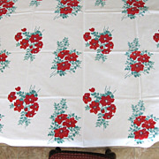 Vintage  Wilendur Hibiscus Flower Tablecloth