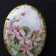 Antique Hand Painted Porcelain Brooch or Pin
