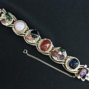 Vintage Heavy Gold Tone & Art Glass Cabochon Bracelet
