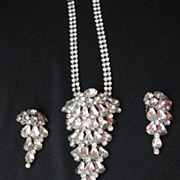 Spectacular Vintage Silver Tone Rhinestone Necklace & Earring Set