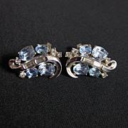Vintage Signed TRIFARI Silver Tone & Rhinestone Earrings
