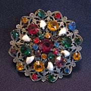 Large Vintage Filigree Brooch with Rhinestones & Baroque Pearls