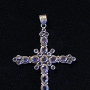 Vintage Signed Sterling Silver & Amethyst Large Cross Pendant