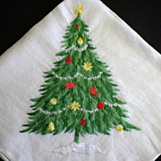 SPECIAL HOLIDAY PRICE - Vintage Embroidery Christmas Tree Handkerchief