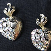 Vintage Pair of Adolph Katz Patent Design Coro Heart & Rhinestone Brooches