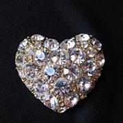 Vintage Gold Tone & Rhinestone Heart Brooch