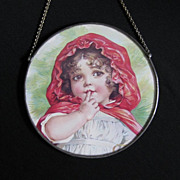 Vintage Little Red Riding Hood Flue Cover Mirror Wall Hanging