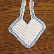 Vintage Blue & White Crochet Baby or Doll Bib