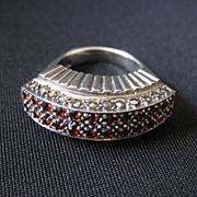 Vintage Signed Art Deco Sterling Silver, Garnet & Marcasite Ring