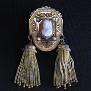 Antique Gold Fill, Sardonyx Cameo & Seed Pearl Tassel Pendant