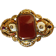 SALE Vintage Signed Gold Plate Carnelian, Houndstooth Pearl & Garnet Brooch