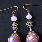 Vintage Venitian Wedding Cake Glass Bead Earrings