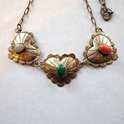 Vintage Signed 925 Heart & Gemstone Necklace