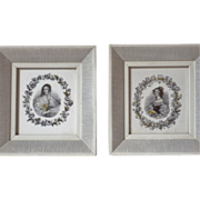 Vintage Pair of Framed Engravings of Victorian Women
