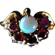 Antique Victorian 14K Gold, Ruby & Opal Ring