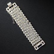 Vintage Wide Faux Pearl & Rhinestone Bracelet