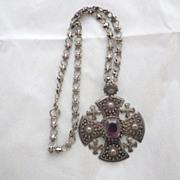 Vintage Signed 990 Silver Jerusalem Cross Pendant Necklace
