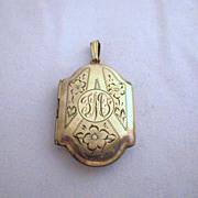 "Vintage Signed ""CHARME"" Gold Fill Locket Pendant"