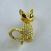 Vintage Kitty Cat Rhinestone Brooch