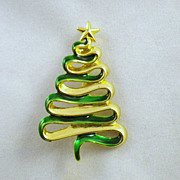 Vintage Signed Danecraft Christmas Tree Brooch