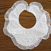 Vintage Handmade Lace & Embroidery Christening Collar Bib