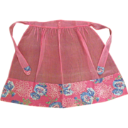 Vintage Hand Made Fabric Half Apron